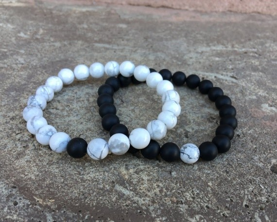 2 Pc Set Distance Bracelets Black And White Matching Pair