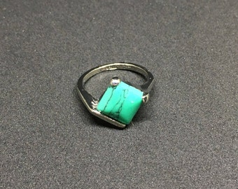Sterling Silver .925 with Green Turquoise Stone, Square