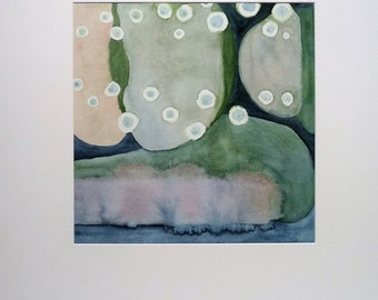 Original Abstract Painting, Watercolor Fine Art, Modern Abstract, Square Painting, Blue Green Wall Art, Landscape Abstract, Birthday Present