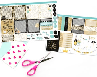 Horizontal Auld Lang Syne New Year's Weekly Planner Sticker Kit for Erin Condren, Plum Planner, Recollections Spiral or A5 Horizontal