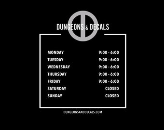 Business Hours Window Decal - Custom Logo Decal / Storefront Decal / Store Hours / Store Logo