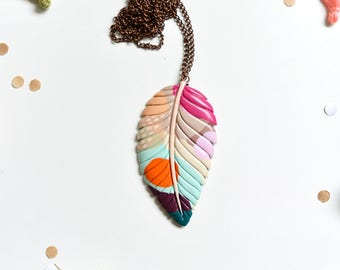 Summer necklace, unique colorful pendant. Urban jungle / Inspired by nature. One of a kind feather leaf jewelry. For all occasions!
