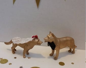 Dog Wedding Toppers, Gold Dog Wedding Cake Topper Set, German Shepherd Wedding Cake Toppers