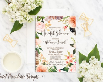 Bridal Shower Invitation / Printable Bridal Shower Invite/ Floral Bridal Shower Invitation /Watercolor Floral Wedding Invitation
