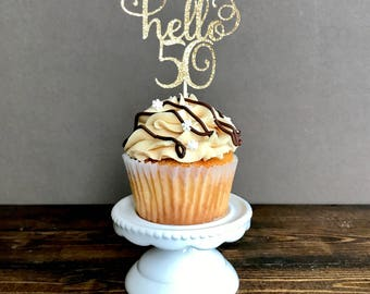 50th birthday cupcake toppers, fifty cupcake toppers, 50th birthday decorations, 50th birthday party, birthday decorations, party supplies