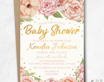 Blush Floral Baby Shower Invitation, watercolor, 5x7, pink, blush, gold, elegant, cute, flowers, printed, printable, diy
