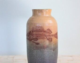 "Fish skeleton vase | 7"" stoneware vase with vintage image"