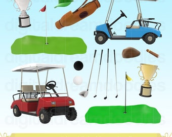 Golf Clipart, Golf Clip Art, Golf Cart Clipart, Golfer Graphc, Golfing Image, Golf Game Scrapbook, Golf Clubs, Golf Ball Digital Download