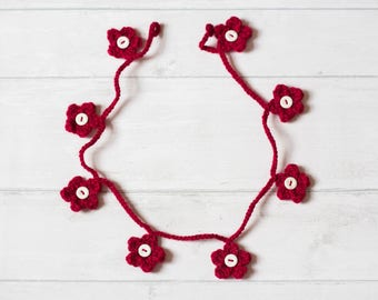 Red Crochet Flower Garland, Red Bunting, Crochet Bunting, Flower Bunting, Crochet Garland, Crochet Flower Mobile, Nursery Decor