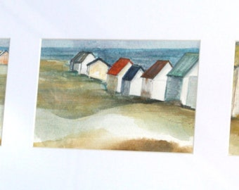 Triptych, Watercolor painting, French coastal scene