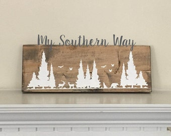 Woodland Wood Sign Stained Painted