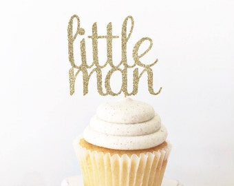 Little Man Cupcake Toppers / Cake Topper / Boy Baby Shower / Boy First Birthday / Mustache Bash Party / Baby Sprinkle / Sip and See