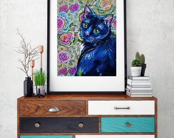Black cat art print, Cat wall decor, Feline Art, Floral cat art