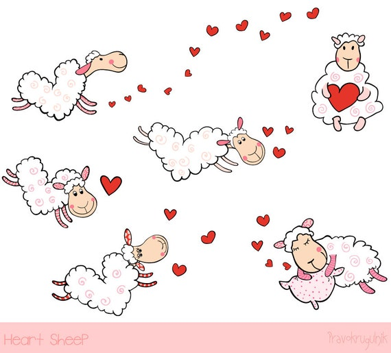 Cute sheep clipart Love clip art Heart shaped sheep baby