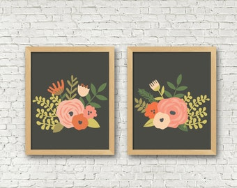 Vintage Floral Art Print set of 2 black coral pink Flowers Digital Art Prints 8x10 set of 2 instant download living room decor bedroom art