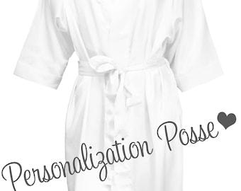 Bride Robe, Flower Girl Robe, Wedding Party Robes, Bridal Shower Gift, Satin Robes- White Satin Robe with Optional Vinyl or Glitter Print