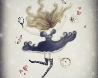 Alice In Wonderland, Alice In Wonderland Wall Art, Illustration, Wonderland Gifts, Art Prints, Wall Art, Whimsical, Fairytale Art, Nursery