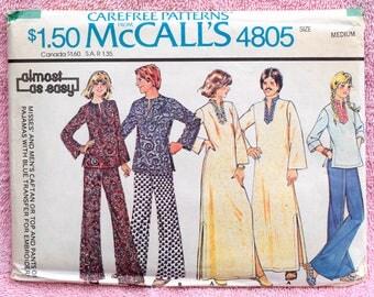 1970s Vintage Womens and Mens Caftan, Top and Pants, Pajamas McCall's 4805 Sewing Pattern - UNCUT / 1970s Caftan