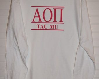 Alpha Omicron Pi 122 Chapter Shirt Comfort Color TShirt, Short Sleeve or Long Sleeve with Color Design