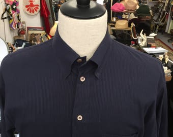 Men's Emporio Armani Navy Blue Dress Shirt Made in Italy