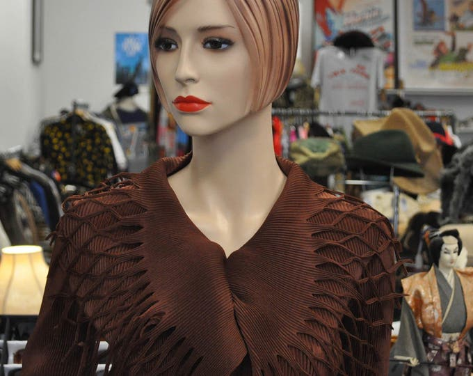 Gorgeous Chocolate Brown Pleated Issey Miyake Blouse Sz 2