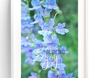 Blue Wildflower, Printable Photo Art, Home Decor, Quote Art, Photography, Gift Idea, Birthday, Instant Download