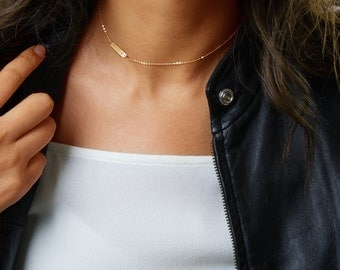 Initial Choker Necklace, Simple Choker Gold, Chain Choker, Personalized bar in Sterling Silver, Rose Gold Filled, Gold Filled B418c