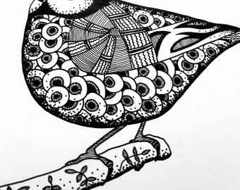 Bird Blue tit ink drawing and prints, black & white ink art, zen animal art