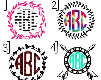Name Monogram W/ Decorative Ring | MacBook Decal | Car Decal | Laptop Decal | Water Bottle Decal | Yeti Decal | iPhone Decal | Customizable