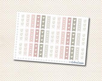 3 Heart Checklist Stickers - Rosy Neutrals