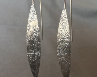 Etched pointed oval 'marquise' earrings