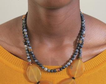 Double Strand Beaded Jewelry Set / Multi Strand / Amber / Gray