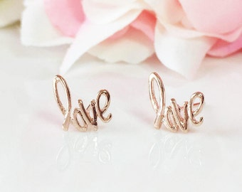 LOVE Earrings, Love Stud Earrings,Gold Love Studs, Rose Gold Stud Earrings,Love Post Earring, Minimalist Earrings,Handwriting Love Earrings
