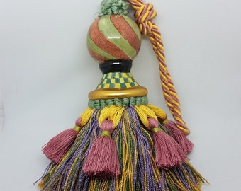 Mackenzie Child's Tassel Curtain Tie-Back Ceramic Hand painted Purple Sage Yellow Shower Gift
