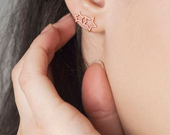 Gold Star Earrings, 14K Gold Earrings, Rose Gold, Double Star Earrings, Gold Star Studs, Gift For Her, Star Jewelry, Minimalist Earrings