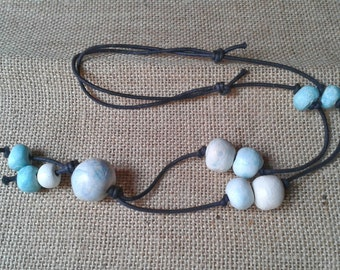 OOAK necklace, Pearl colored clay, blue tone