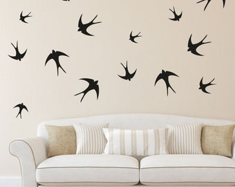 Swallow Vinyl Wall Pattern, Set of 42, Removable Wall Pattern Decal, Wall Decal, Swallow Wall Sticker, Bird Wall Decals, Wall Art