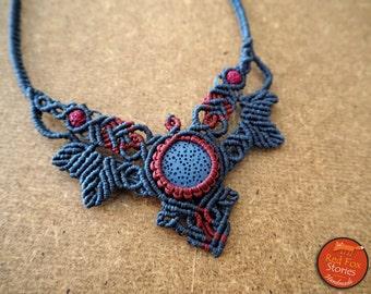 Macrame necklace with Lava stone, Macrame leaves, Macrame necklace, macrame lava, lava necklace, macrame jewelry, bohemian necklace, egst