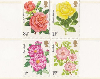 1976 Roses Vintage Postage Stamp Set; Flowers on Stamps, Rosa, Dog Rose, Pink, Yellow, Orange, Wedding, bouquet, Mint, Unused or Used