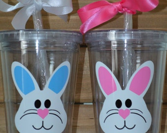 Easter Bunny Kids Cup- Boy or Girl! Bunny Straw Cup- Bunny Tumbler Cup- Easter Bunny Straw Cup- Easter Bunny Tumbler Cup- Rabbit Tumbler Str