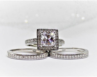 Wedding ring set,Princess Cut,1.26ct Sterling silver Bridal Halo Set,Simulated Diamond 3 Band Half Pave channel Set,BROOKE