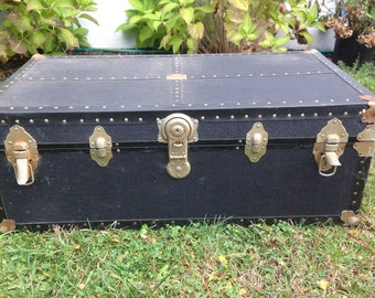 Antique Steamer Trunk - Black - LOCAL PICKUP ONLY