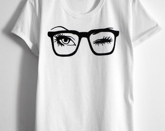 sunglasses glass eyes eyelash shirt eyelashes Women's Clothing Tops tees T-shirts hand painted tshirt  for her gift for her white tee