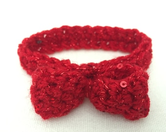 Bow tie, collar, Cat bow tie, Small Dog Bow tie, Cat Collar, Red, Photo Prop, Cat Costume, Dog Costume, Wedding, Christmas, Valentine's