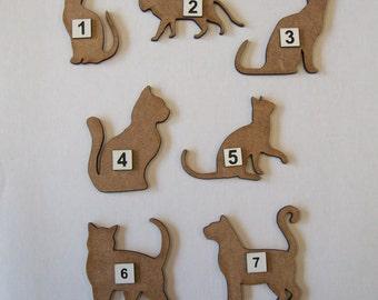 Laser cut 3mm MDF Cat shapes