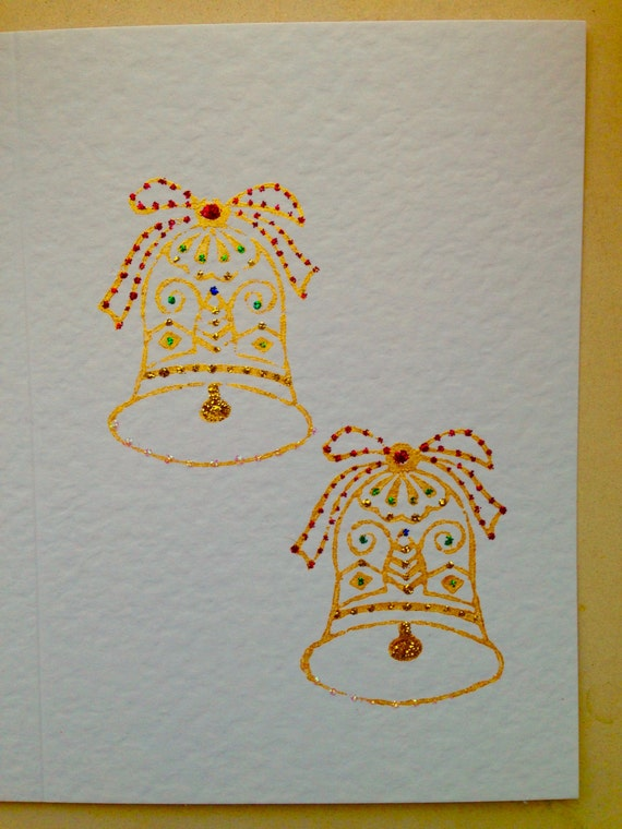 Handmade Card, Christmas Card, Bell Card, Christmas Bells, Unique Card, Individual Greeting Card