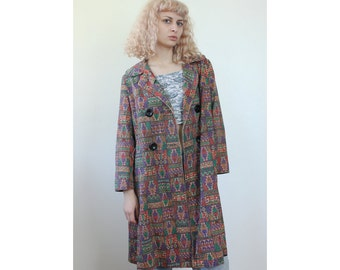 70s Tapestry Coat // Vintage Jacket Button Up Tribal Print Oversized Womens - Large