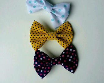 Polka dot bows, yellow polka dot,fabric bows, set of bows for girls