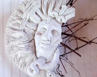 Large modern folk art wall sculpture of face, cement, folk art sculpture for the home or garden, feminine art, modern folk art, goddess art