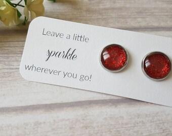Red glitter earrings, Red stud earrings, Birthday gift for her, Red earrings for sensitive ears, Elegant earrings, Glitter jewelry red